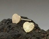 Brass Sterling Silver Stud Earrings, Heart Earrings Studs, Starbursts Posts