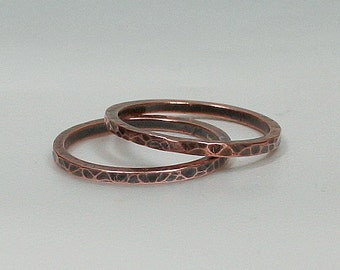 Handmade Textured Copper Stacking Rings Size 8.5