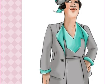 NVL 1930s The Deco Suit 46 bust PLUS SIZE 4401