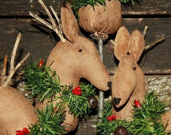 Primitive Christmas Hobby Horse Reindeer Ornies E-PATTERN