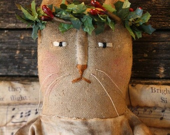 Primitive Folk Art Christmas Miss Holly Angel Cat Doll Digital PDF Pattern, Primitive Pattern