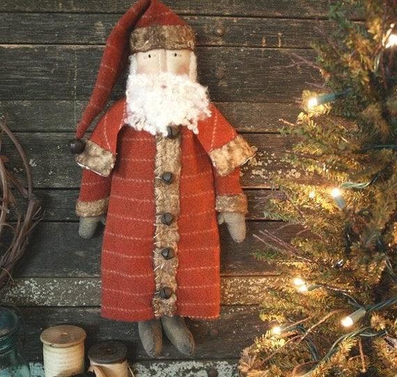 Primitive Christmas Folk Art Santa Doll E-PATTERN