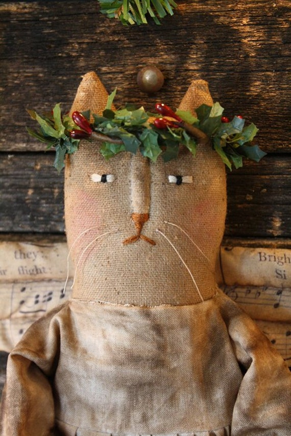 Primitive Folk Art Christmas Miss Holly Angel Cat Doll E-Pattern