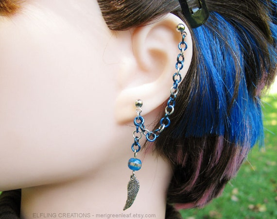 Blue And Silver Feather Wing Cartilage Chain Earring or Bajoran Ear Cuff - Skyswimmer's Wing
