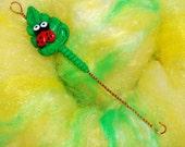 Leaf with Ladybug Spinning Wheel Orifice Hook - Polymer Clay