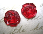 2 Vintage gorgeous glass ruby red rose cabochons gold foil rhinestones 12mm