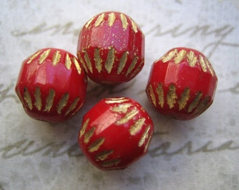 Vintage beads (4) Czech glass ruby red gold baroque rounds 10mm (4)