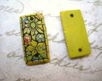 Rare antique  beads (2) connector link Czech antique Gablonz tablet hand painted pressed glass cab stone tile  mosaic (2)