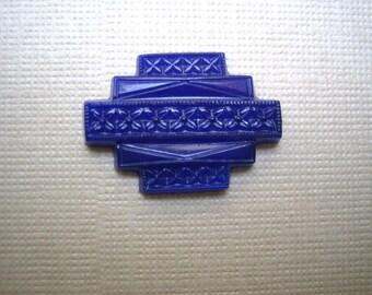 Deco glass cabochon vintage cobalt lapis navy blue opaque glass stone (1)