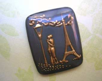 Vintage intaglio (1)  glass French lovers Wedding Bridal  reverse carved painted crystal cameo  cab Eiffel Tower paris france (1)