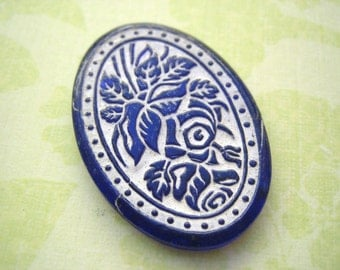 vintage  cameo intaglio Cobalt blue sapphire glass roses cameo 1930s large (1)