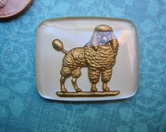 Vintage glass intaglio poodle dog reverse painted West German - woof