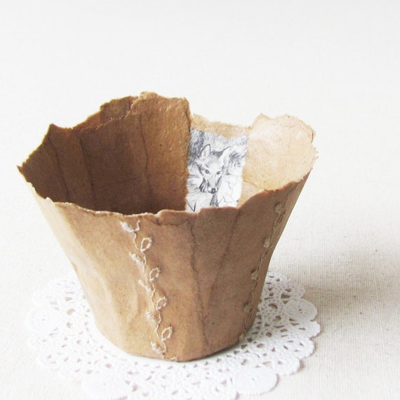 handmade paper bowl with wolf- papier mache bowl for organization and home decor