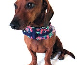 Eco Dog Harness - Repurposed Blue Red Berries Cotton - Large
