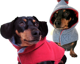 Eco Dog Coat - Poppy Red and Grey - SM