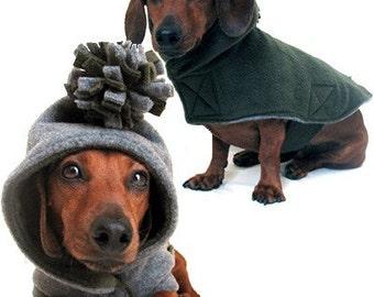 Eco Dog Coat - Recycled Green Grey Fleece - Medium