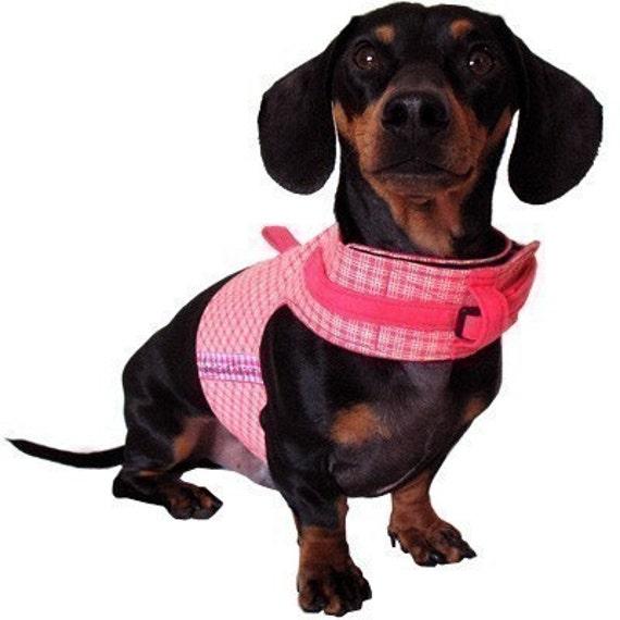 Eco Dog Harness -  Renewable Pink Yellow Plaid Cotton - Medium