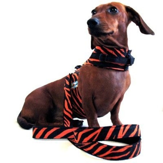 Eco Dog Harness - Renewable Orange Leopard Cotton - Medium