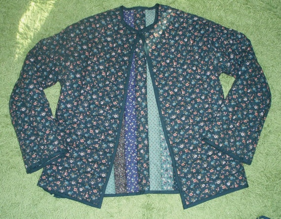 70s FOLK JACKET Green Ditsy Calico Quilted Reversible S M