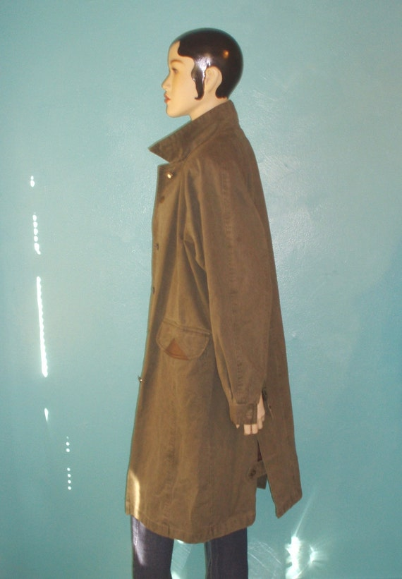 80s Army Green Duster Coat L