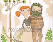 happy couple watercolor - Man and woman print about  TRUE LOVE -  by cori dantini - 8 x 8 - limited edition - archival.