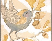 bird with acorn, folk painting - autumn- thanksgiving- wall art - a limited edition, archival print by cori dantini, 5 x 7