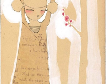 whimsical illustration of a girl seeing the world - inspirational portrait - art print - archival and limited edition print by cori dantini
