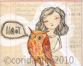 orange owl woman print - 8 x 8 - archival - limited edition - She was a hoot by cori dantini