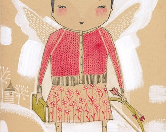watercolor painting of an angel by cori dantini, girl with wings - fairy - art print - archival - limited edition print by cori dantini
