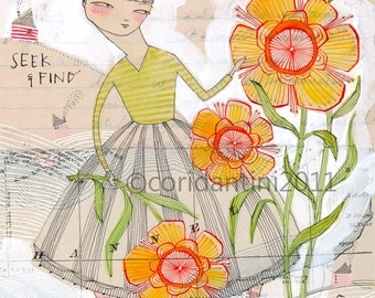 Art Print of a girl with flowers - Seek and Find - Traveler - Adventurer - graduation - 8x10 archival limited edition print by cori dantini
