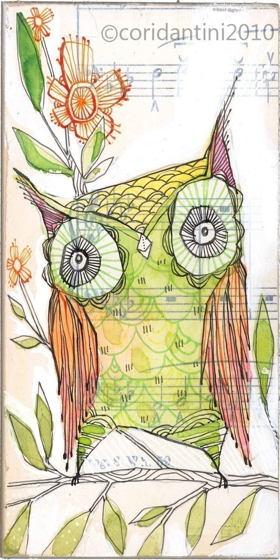 little olive... an archival owl print 5 x 10 inches by cori dantini