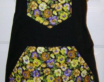 Pansy Bib Apron, Black Bib Apron,Black with Flower Apron, Pansies    #2011