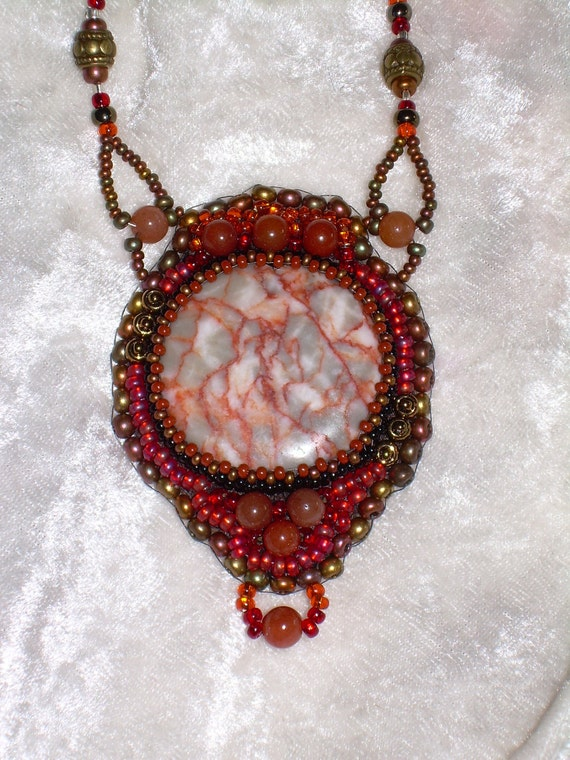 Carnelian Sunset Bead Embroidered Necklace