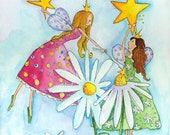 Nursery Art Fairies And Flowers  8x10 Print