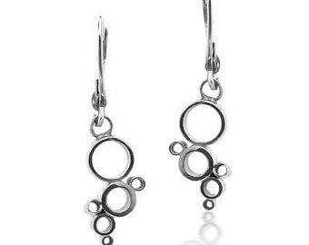 Modern silver earrings - bubble earrings - geometric circles - bubbles - recycled sterling silver - dangle - eco friendly - ready to ship