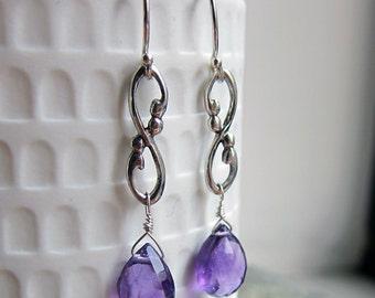 Amethyst drop earrings, February birthstone earrings, long drop earrings gift for her briolette earrings infinity birthstone earings Wrought