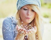 Knit Hat Womens Hat Blue Newsboy Hat - Swirl Beanie with Visor in Glacier Blue Knit Hat - Blue Hat Blue Beanie Womens Accessories