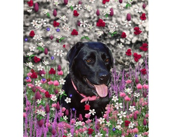 Abby in Flowers - Black Lab ACEO Edition