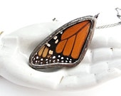 Real Butterfly Wing Necklace Monarch.Butterfly Pendant. Monarch Pendant. Butterfly Necklace.Real Insect Jewelry.Orange and Black Butterfly.
