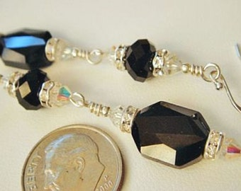 Swarovski Earrings, Black Earrings, Swarovski Elements Crystal Earrings, Sterling Silver Earrings