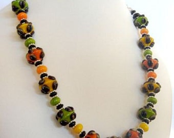 Colorful Lampwork Necklace, Lampwork Beads, Swarovski Crystal Necklace, Green Yellow Orange Necklace