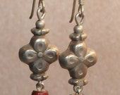 Antique Glass Trade Bead Earrings (White Heart Red) & Sterling Silver Ear Wire