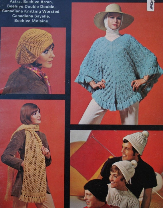 Knitting Patterns Hats Scarves Wraps Socks Beehive Patons 127 Shawl Vintage Paper Original NOT a PDF