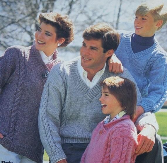 Sweater Knitting Pattern Family Lewiscraft Beehive Patons 4002 Men Women Children Vintage Paper Original NOT a PDF