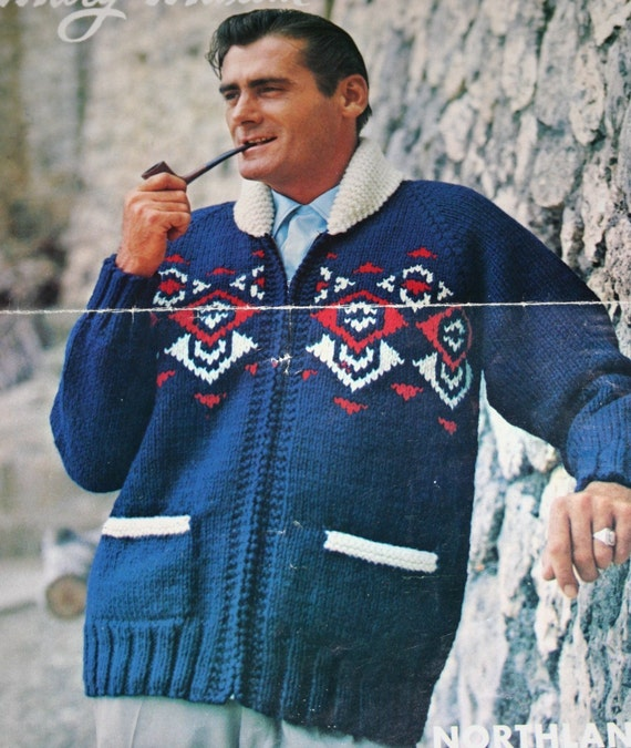 Jacket Knitting Pattern Men Northland Mary Maxim 1403 Cardigan Sweater Curling Bulky Weight Yarn Vintage Paper Original NOT a PDF