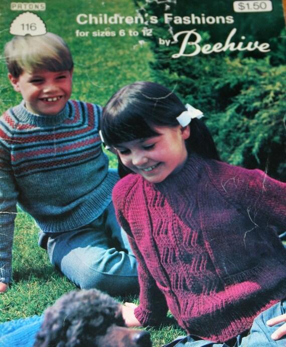 Sweater Knitting Patterns Children Beehive Patons 116 Cardigans Boys Girls Hockey Socks Skirt Hoodie Vest  Paper Original NOT a PDF