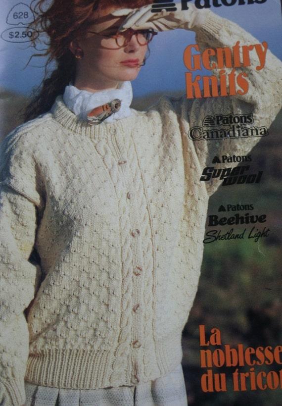 Sweater Knitting Patterns Cardigan Knitting Pattern Men Women Gentry Knits Beehive Patons 628 Aran Vintage Paper Original NOT a PDF