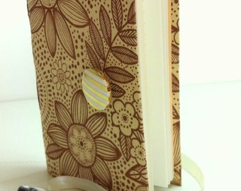 Beige Brown lined Journal Notebook with flowers print Opens with white & gold stripes button and white satin ribbon, summer gifts