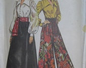 Simplicity 5235, early 1970s blouse, long skirt, pantskirt, and sash
