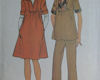 Simplicity 7153, 1970s maternity top, dress, pants, and scarf